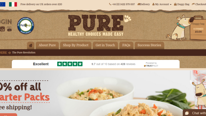 40% off all starter packs of Pure Pet Food